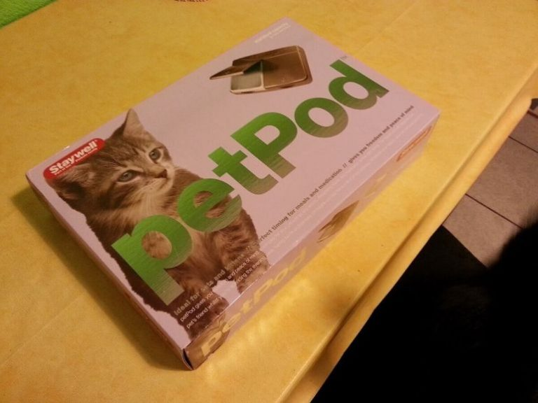 Cat feeder Staywell PetPod in its box.