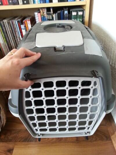 Cat carrier from the front with removable door.
