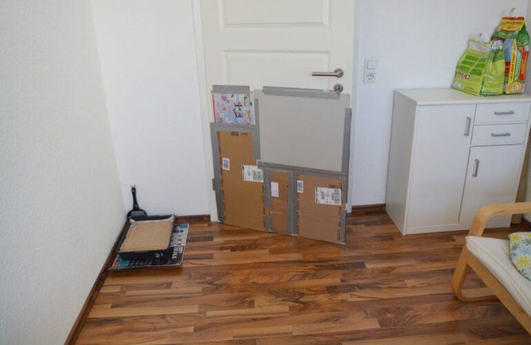 Litter box behind a door